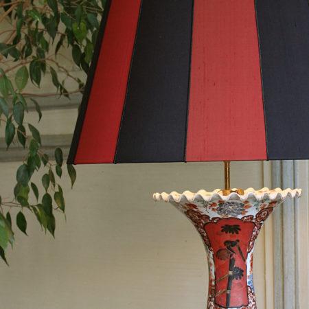 Abat-jour forme Tambour à bandes verticales rayures soie et soutache Luminaire Vernon Eure 27200 Métissage et Matières