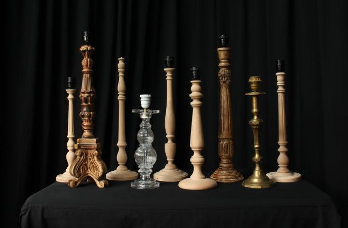 Ambiance pieds de lampe bois métal sculpté verre Métissage et Matières
