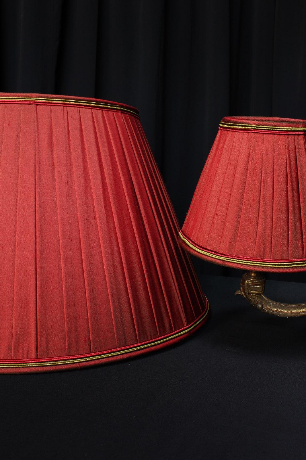 Abat Jour Ancien abat-jours plissés soie changeante pour lustre et pied de lampe