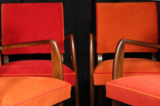 Restauration fauteuils Bridge vintage années 50 après réfection tissu rouge orange et brique Amara Aquaclean Casal Tapissier tapissière Fabricant de luminaires abat-jour Métissage et Matières Yvelines 78 Eure 27 Hauts-de-Seine 92 Paris 75