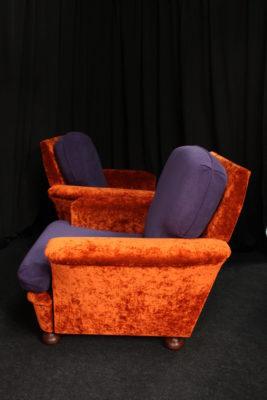 Restauration fauteuils vintage années 80 après réfection tissu violine et brique Amara et Tacoma Aquaclean Casal Tapissier tapissière Fabricant de luminaires abat-jour Métissage et Matières Yvelines 78 Eure 27 Hauts-de-Seine 92 Paris 75